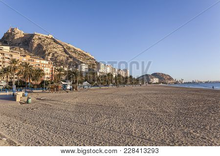 Alicante, Spain- January 18, 2018: Mediterranean Beach,playa Postiguet,sunny Winter Day. Alicante, S