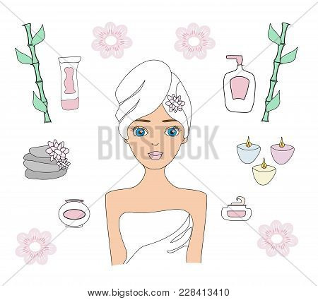 Beautiful Woman Spa Treatment. Beauty Procedures And Wellness Icons Set , Vector Illustration