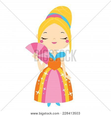 Cute princess holding tan. Girl in queen costume. Cartoon style vector illustration