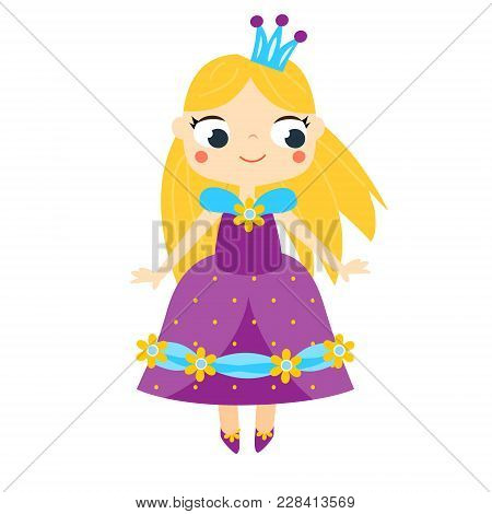 Cute princess in long violet dress and crown. Girl in queen costume. Cartoon style vector illustration, clip art