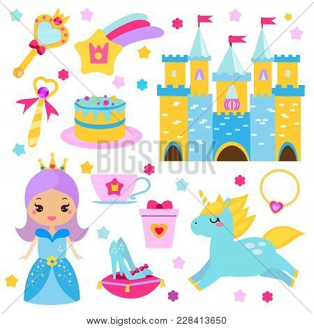 Children princess party design elements. Stickers, clip art for girls. Unicorn, castle, crown, shoes and other fairy symbols for invitations, scrapbook, blogging, kids mobile games