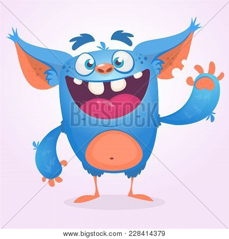 Cute Furry Blue Monster. Vector Bigfoot Or Troll Character Mascot. Design For Children Book, Holiday