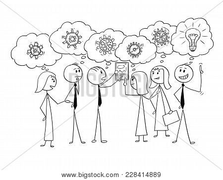 Cartoon Stick Man Drawing Conceptual Illustration Of Business Team Or Group Of Businessmen And Busin