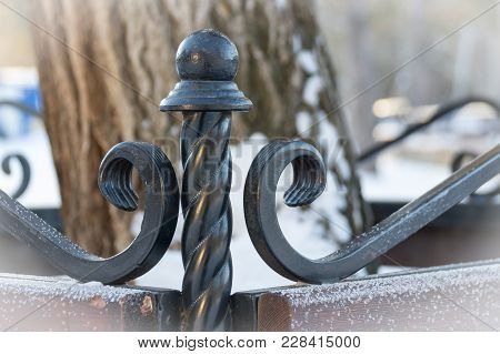 Fragment Of Forged Bench. Winter. Background Tree Art