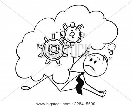 Cartoon Stick Man Drawing Conceptual Illustration Of Businessman Who Is Overburdened And Buried By L