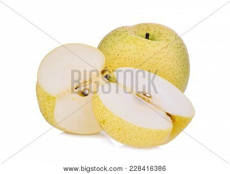 Whole And Half Of Green Diamon Pear (cuiyu Pear) Or Chinese Pear Isolated On White Background