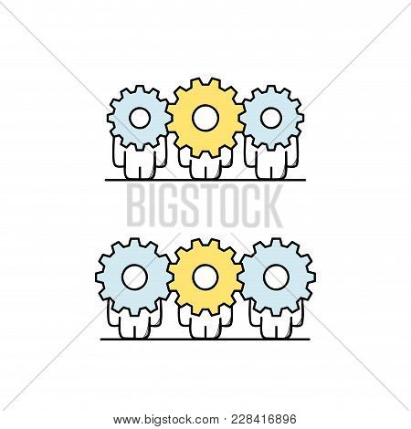 Funny Cute Men With Gear Wheels Or Pinions Instead Of The Heads. Teamwork, Cooperation, Collaboratio