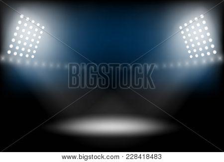 Stage, Light, Spotlight Empty Scene Podium Vector Illustration