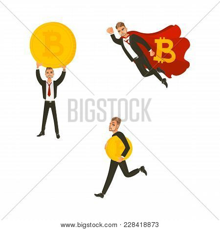 Vector Flat Bitcoin, Mining Concept. Male Character, Happy Businessman In Suit Flying Like Superman