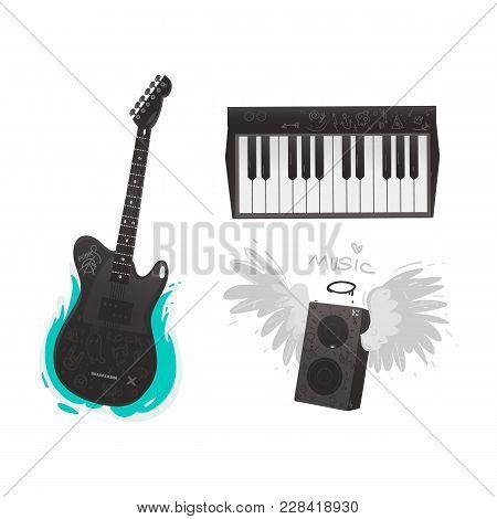 Vector Flat Music Symbols Set. Electric Guitar, Loudspeaker With Angel Wings, Nimbus, Piano. Heavy M