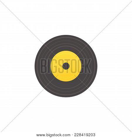 Vector Flat Vintage Vinyl Record, Circle Black Yellow Retro Music Sound Audio Disk Icon. Plastic Dis