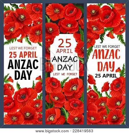 Anzac day poppy flowers banners vector photo bigstock anzac day poppy flowers banners for lest we forget of australia and new zealand war commemoration mightylinksfo Gallery
