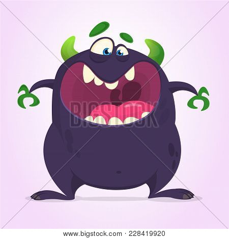 Angry Cartoon Black Monster Screaming. Yelling Angry Monster Expression. Big Collection Of Cute Mons