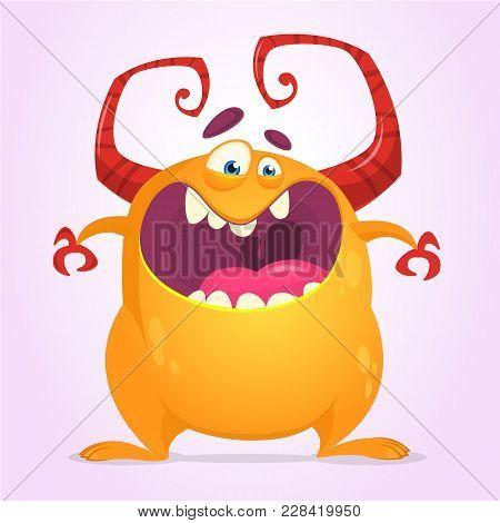 Angry Cartoon Monster. Halloween Vector Illustration Of Orange Monster Character. Design For Print,