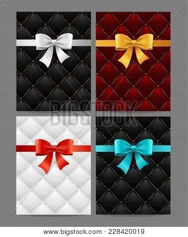 Card Silk Ribbon Bow And Quilted Background Set Vip Luxury Style For Exclusive Congratulation On A G
