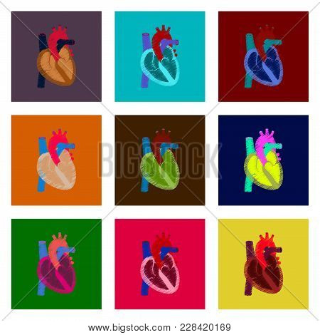 Assembly Of Flat Shading Style Icon Heart