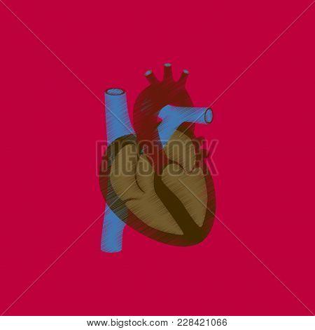 Flat Shading Style Icon Heart Medical Care
