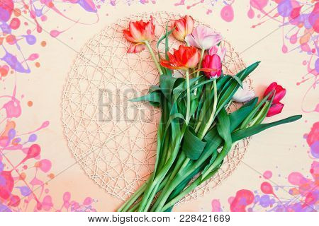Bunch Of Fresh Colorful Spring Tulip Flowers