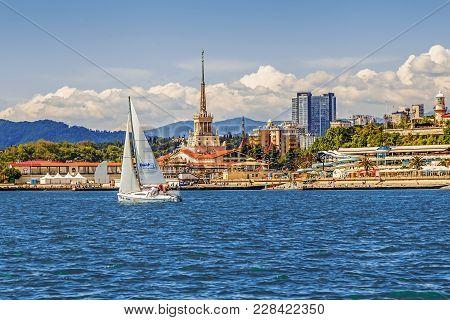 Sochi, Russia - May 21, 2016: Sailing Regatta Against The Backdrop Of The Seaport.
