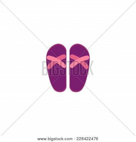 Pair Of Pink And Purple Rubber Flip-flops, Typical Summer Vacation Footwear, Flat Cartoon Vector Ill