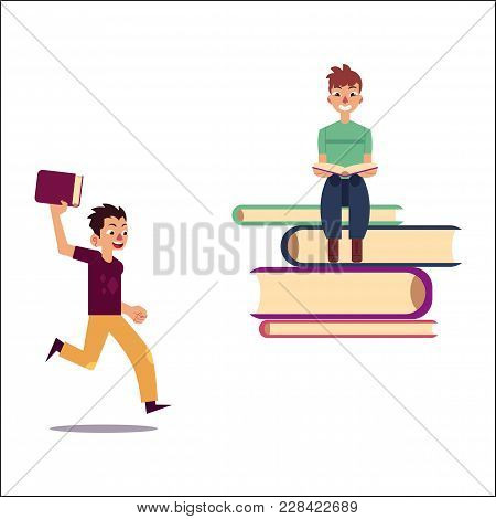 Vector Flat Adult Smiling Man In Casual Clothing Sitting At Pile Books Reading Textbook, Male Charac