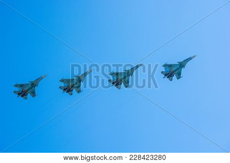 Rostov-na-donu, Russia - Circa September 2017: Russian Fighter Planes In Sky At Military Air Show