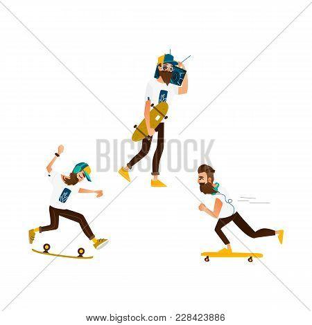 Vector Cartoon Hipster Man Skateboarding Set. Bearded Characters Jumping Olly In Glasses Cap, Headph