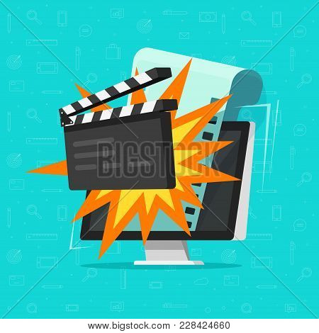 Movie Or Online Cinema On Computer Concept Vector Illustration, Flat Cartoon Design Of Clapper Board