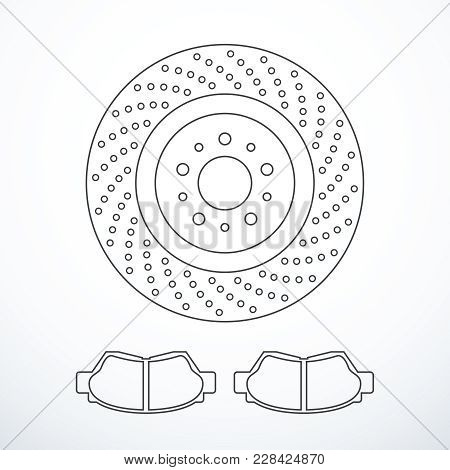 Brake Disc And Pads Icon Set. Vector Illustration Eps 10