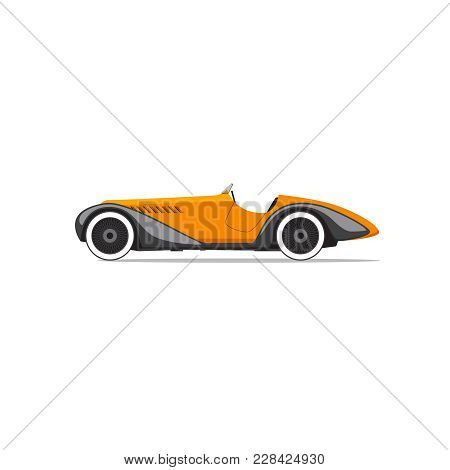 Retro Car Isolated. Side View. Vector Illustration
