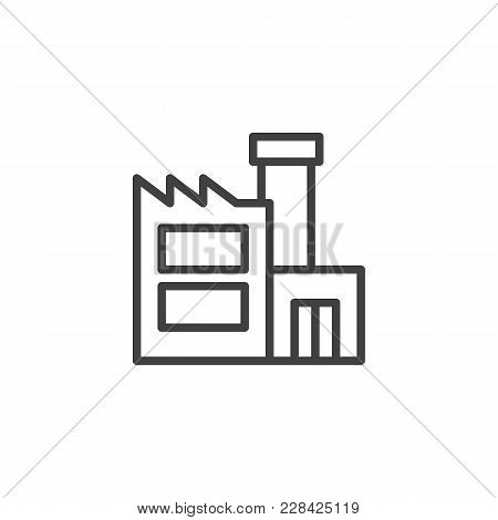 Factory Building Outline Icon. Linear Style Sign For Mobile Concept And Web Design. Industry Simple