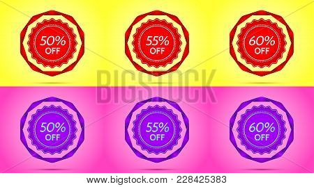 Set Of Red And Purple Sale Badges. Vector Badge With Offer Of Discount 50 55 60 Percent Off, Surroun