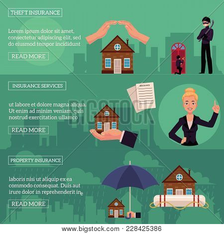 Vector House Insurance Infographic Posters Set. House, Property Insurance, Insurance Services. Natur
