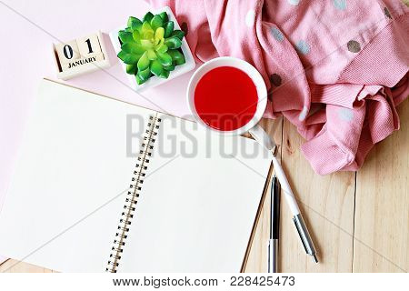 Business, Holiday Or New Year Planning Concept : Desk Table With Scarf, Open Notebook Paper And Cube