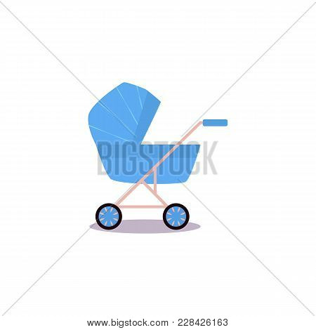 Vector Flat Cartoon Baby Carriage Or Stroller, Pram Blue Perambulator. Isolated Illustration On A Wh