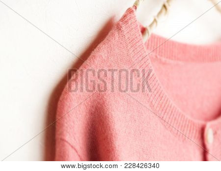 Beautiful, Luxurious, Knitted Cardigan In Pink, Autumn, Winter, Warm.