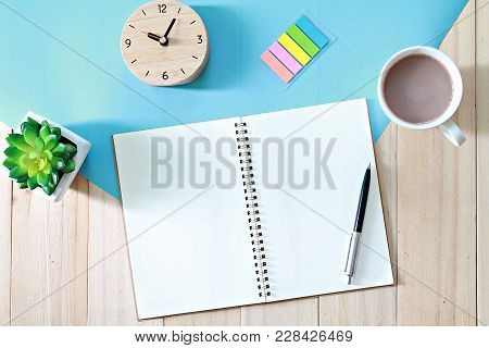 Business, Weekend, Holiday, Good Morning Or Planning Concept : Desk Table With Open Notebook Paper A