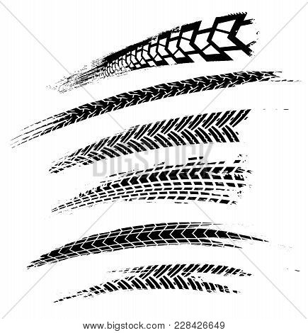 Motorcycle Tire Tracks Vector Illustration. Grunge Automotive Element Useful For Poster, Print, Flye