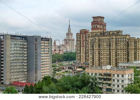Moscow, Russia - May 28, 2013: Beautiful View Of Moscow State University Building From Distance
