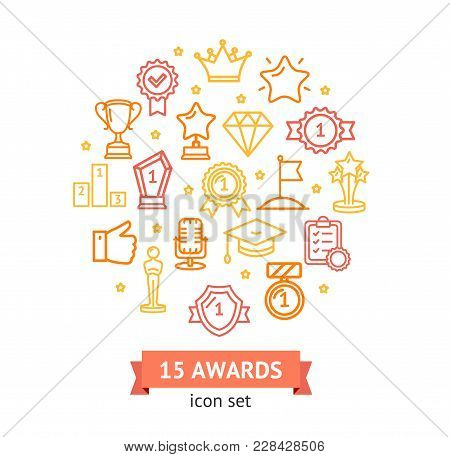 Award Signs Round Design Template Thin Line Icon Concept With A Tape Include Of Badge, And Medallion
