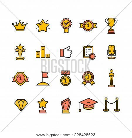Award And Respect Signs Color Thin Line Icon Set Include Of Trophy, Star, Medal, Cup And Prize. Vect