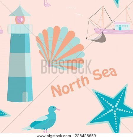 Pattern Background. Seamless Pattern Of North Sea With Shells, Fisher Boat, Sea Gull And Lighthouse