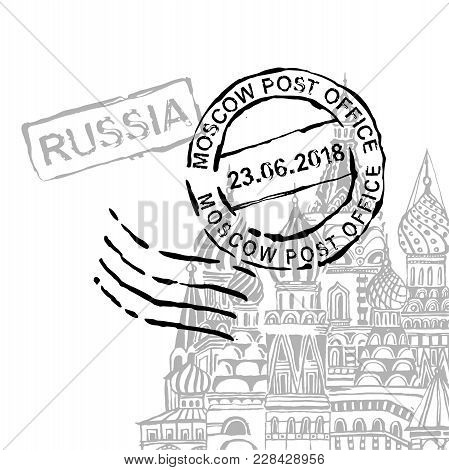 Moscow Stamp Image With Saint Basils Cathedral. Vector Hand Drawn Travelling Illustration. Grunge De
