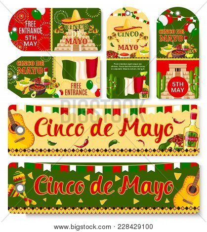 Cinco De Mayo Mexican Holiday Fiesta Celebration Tags With Greetings And Traditional Mexico Symbols.