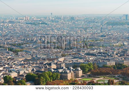 Birdeye View Of Paris With Notre Dame Cathedral, France