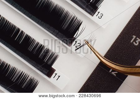 Eyelash Extension Procedure. Woman With Long Eyelashes In Beauty Salon. Lashes Close Up. Concept Spa