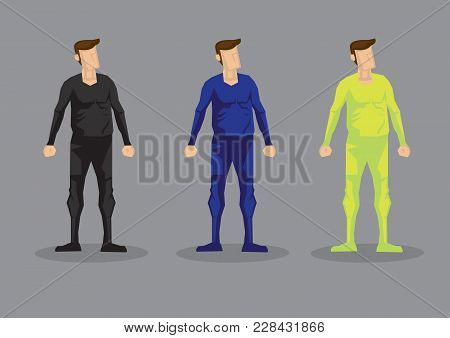 Cartoon Man Wearing Form Fitting Bodysuit In Colors Of Black, Blue And Neon Green. Vector Characters