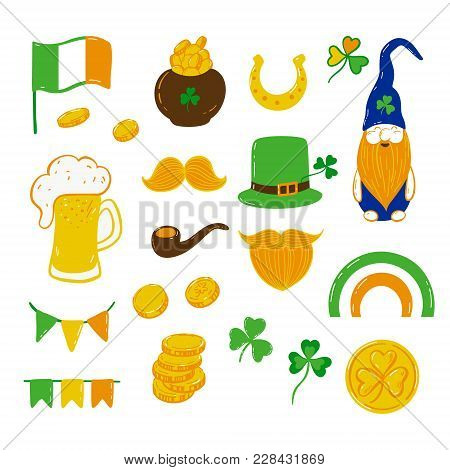 Patrick's Day Graphic Elements Clover Leaf, Rainbow, Beer, Coins, Dwarf, Flags, Green Hat, Red Beard