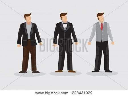 Set Of Three Cartoon Man Wearing Three Piece Suit Formal Outfit Isolated On Plain Background.