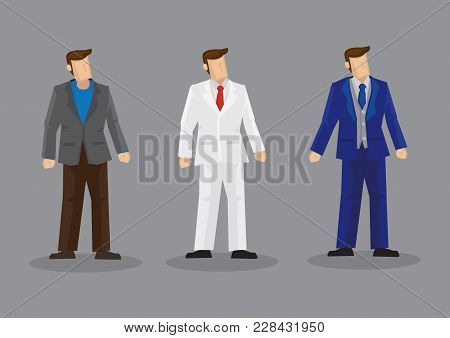 Set Of Three Vector Illustrations Of Faceless Cartoon Man Wearing Stylish Suit Isolated On Grey Back